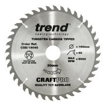 190mm x 40T x 30mm Bore Trend Craft Pro Blade