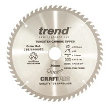 190mm x 60T x 30mm Bore Trend Craft Pro Blade