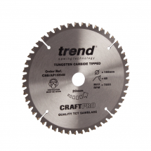 165mm x 48T x 20mm Bore Trend Craft Ali & Plastic Saw Blade
