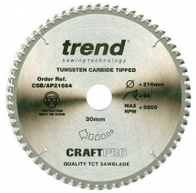 216mm x 64T x 30mm Bore Trend Craft Ali & Plastic Saw Blade
