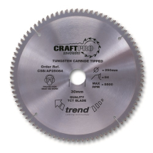 250mm x 84T x 30mm Bore Trend Craft Ali & Plastic Saw Blade